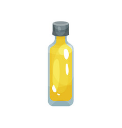 Transparent glass bottle of rapeseed oil cooking vector
