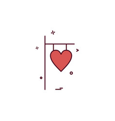 valentines heart name plate icon design vector image