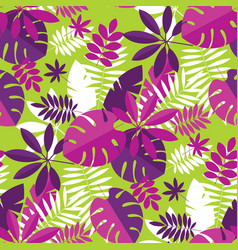 Vibrant bright simple tropical leaves pattern vector