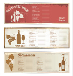 vintage restaurant menu collection vector image