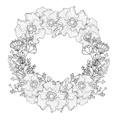 Vintage round frame with flowers Floral vector