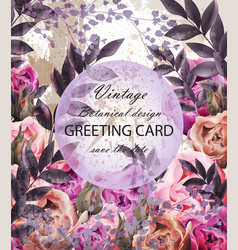vintage wedding card with floral decor vector image