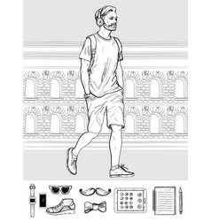 walking hipster man men s accessories set vector image