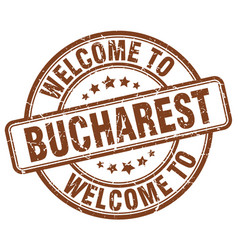 Welcome to bucharest brown round vintage stamp vector