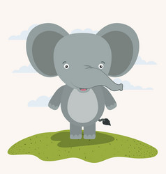white background with color scene cute elephant vector image