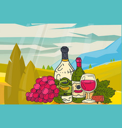wine table with snacks mountains nature landscape vector image