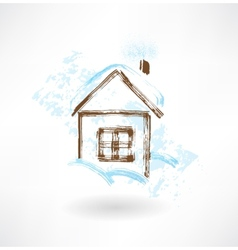 Winter house grunge icon vector
