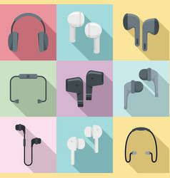 Wireless earbuds icons set flat style vector