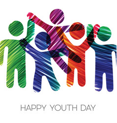 Youth day card of colorful diverse teen group vector