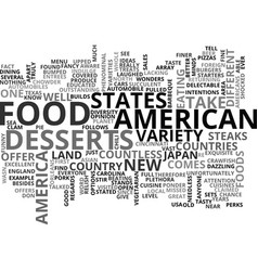 american food text word cloud concept vector image vector image