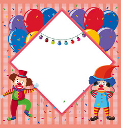 border template with colorful balloons and jesters vector image