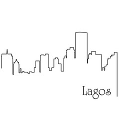 Lagos city one line drawing vector
