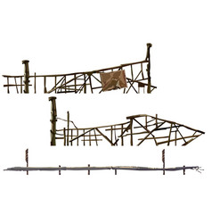 Painted old dilapidated fences made of sticks vector