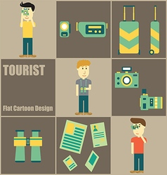 Tourist people Flat Cartoon vector image