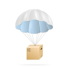 White parachute with cardboard box vector image