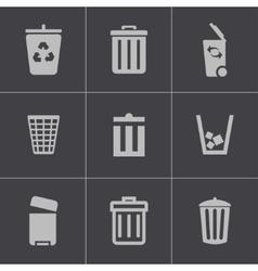 black trash can icons set vector image