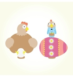 Cartoon easter chicken and bunny isolated vector image vector image
