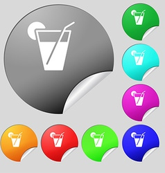 cocktail icon sign Set of eight multi colored vector image vector image