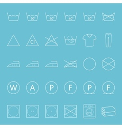 Washing and ironing clothes thin lines icon set vector