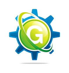 circle globe gear letter g green abstract vector image