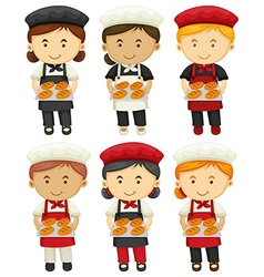 Male and female bakers with baked bread vector image