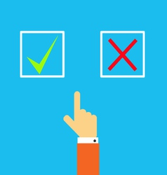 Mans hand before choosing yes or no vector image