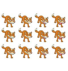 Set of 12 cute cartoon foxes vector