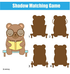 shadow matching game kids activity with cute bear vector image