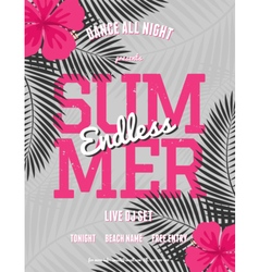summer party palm leaves neon pink text flyer vector image