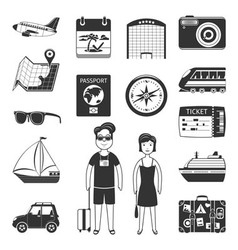 Travel Black Icons Set vector image vector image