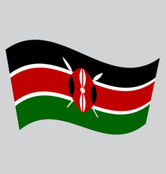 flag of kenya waving on gray background vector image vector image