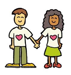 interracial couple vector image vector image