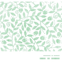Leaves and swirls textile horizontal frame vector