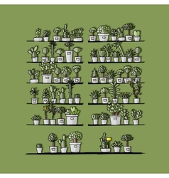 Shelves with plants in pots sketch for your vector image vector image