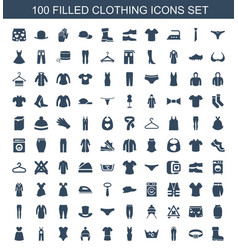 100 clothing icons vector image
