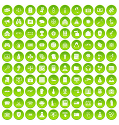 100 hacking icons set green circle vector