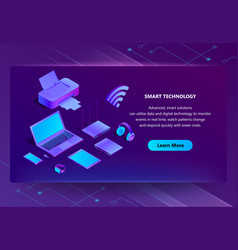 3d isometric ultraviolet web page template vector image