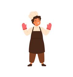 adorable chief cook portrait cute little boy vector image