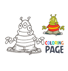 Alien cartoon coloring page vector