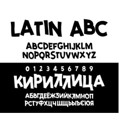 Alphabet cyrillic and latin font unique vector