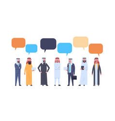 Arabic men group with chat bubbles over white vector