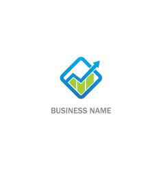 arrow square graph progress company logo vector image