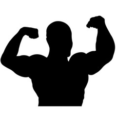 Athlete bodybuilder back double biceps vector