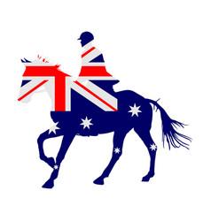 Australian flag over racing horse in gallop vector