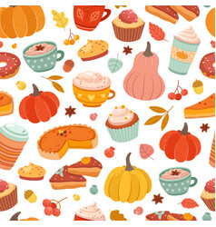 autumn pumpkin pattern pumpkins spice cinnamon vector image