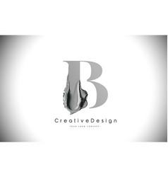 B letter design brush paint stroke black b letter vector