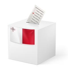 Ballot box with voting paper Malta vector image