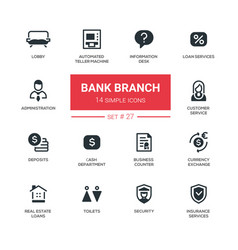 Bank branch - modern simple icons pictograms set vector