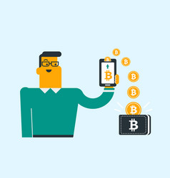 bitcoin coins relocating from phone into wallet vector image