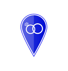 Blue map pointer with wedding rings icon vector